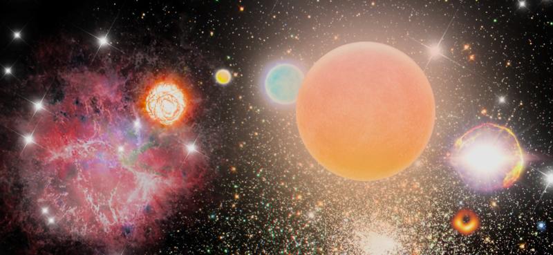 Images of different coloured stars, a nebula, a supernova and a blackhole