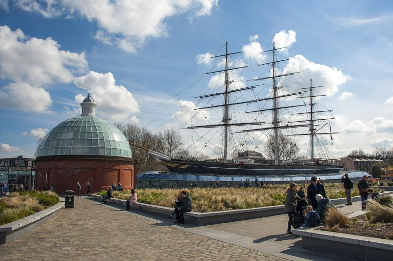 A view of the historic ship Cutty Sark in the dry dock at Greenwich
