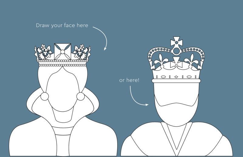 An illustration of a Queen and King in black and white on a blue background. The instructions say 'draw your face here... or here!'