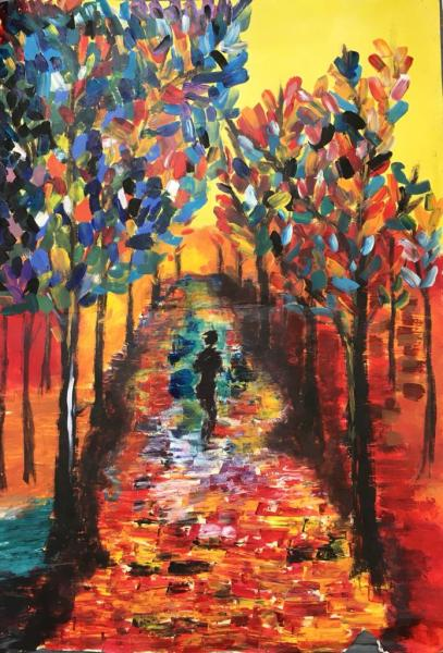 A figure walks through a walkway of colourful trees