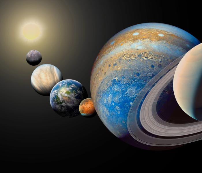 Images of each planet in the solar system and the Sun
