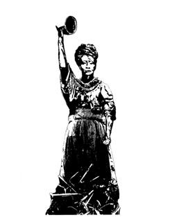 A digital artwork of Nanny of the Marrons by artist, Karen McLean, showing a defiant Nanny in black and white with her right fist held in the air