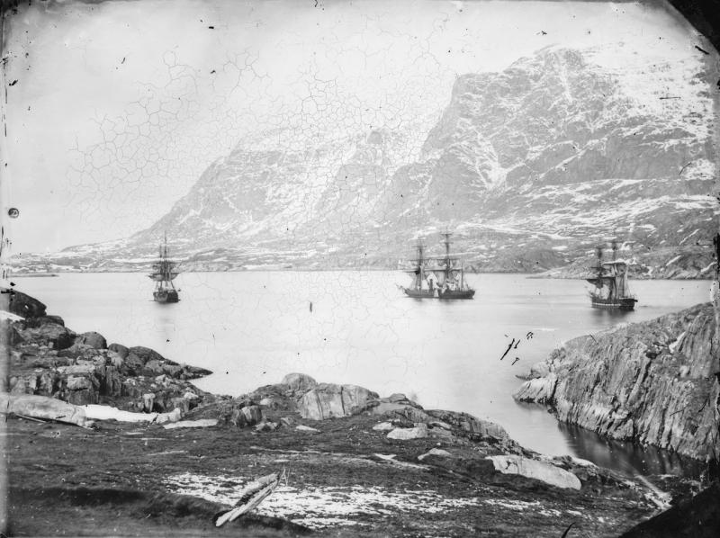 HMS Phoenix (1832), HMS Talbot (1824) and HMS Diligence (1814) at anchor, Holsteinborg (now Sisimiut), Greenland taken in June 1854