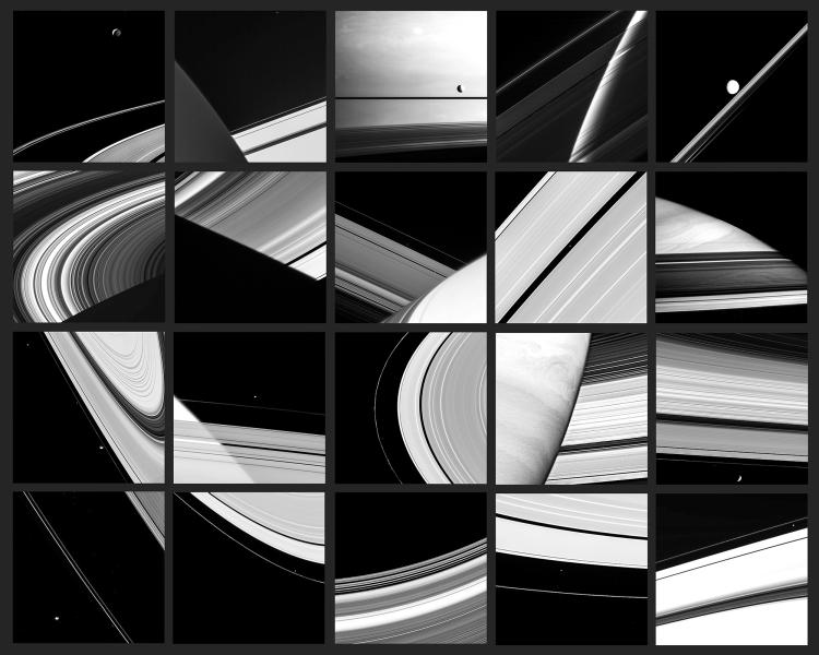 An abstract, black and white astronomy photograph, showing a grid of fractured images adapted from satellite data