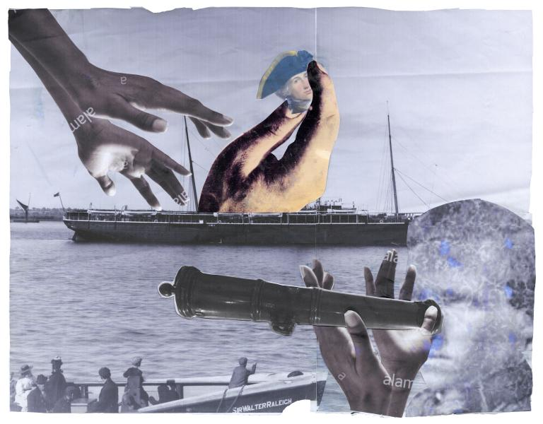 collage of hands coming out of boats and into boats