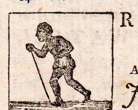 A black and white illustration of a young man from a newspaper advert about a 'runaway' slave from 1779