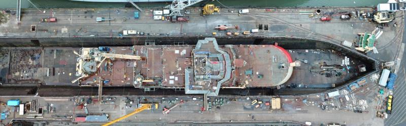 An overhead photo of the RRS Sir David Attenborough during construction in the Cammell Laird shipyard