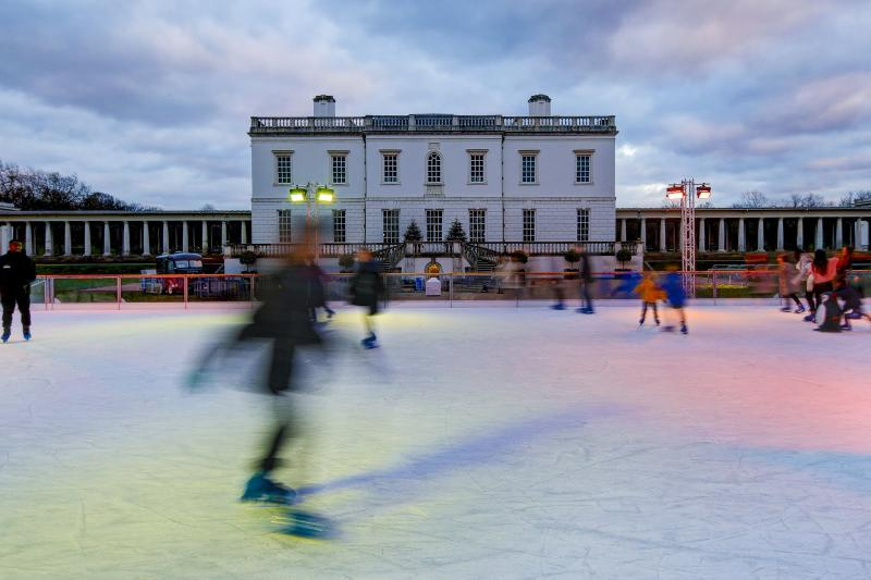 Ice skating past Queen's House