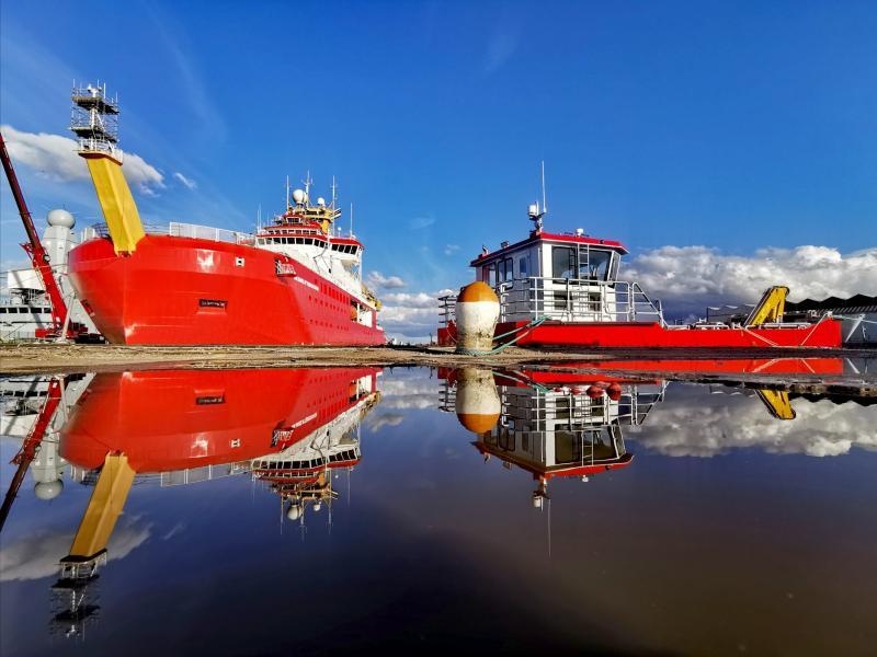 RRS Sir David-Attenborough and her cargo tender Terror