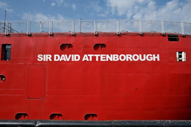 The red hull of RRS Sir David Attenborough