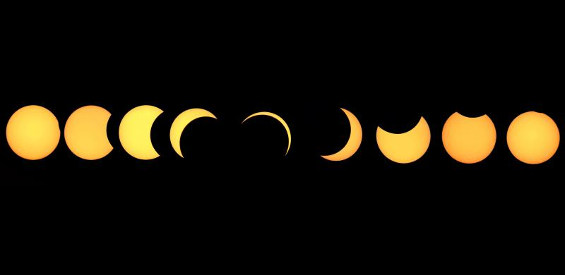 Composite image showing the different stages of a solar eclipse